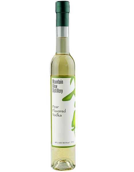 Pear Vodka - Handcrafted  A subtle and delicate twist of pear adds a new dimension to your martini.  This vodka is all natural, made with only grapes and fresh pear juice.  40% Alcohol by Volume/80 Proof Made at Mountain View Vineyard in the Pocono Mountains of Pennsylvania.