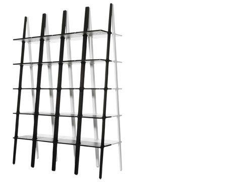 Libri hylle 2008 Design S/Swedish Design Award Hylle, som fungerer som enkelt eller som kan kombineres med andre Libri hyller imot vegg, rygg mot rygg så dei bygger en frittstående hylle eller flere hyller i rad ut fra vegg som en rom avdel