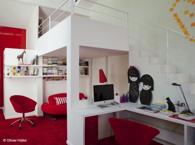 Studio mezzanine for the home pinterest studios et for Idee deco studio 20m2