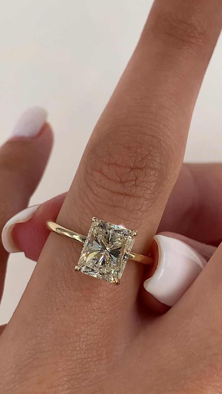 2.12 Carat Diamond Engagement Ring, Solitaire Radi