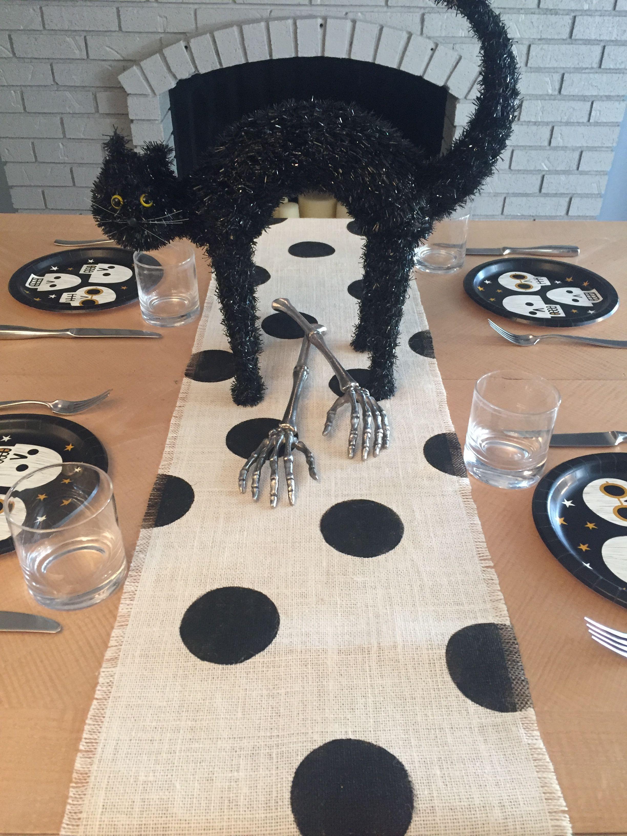 12 wide halloween black burlap table runner off white