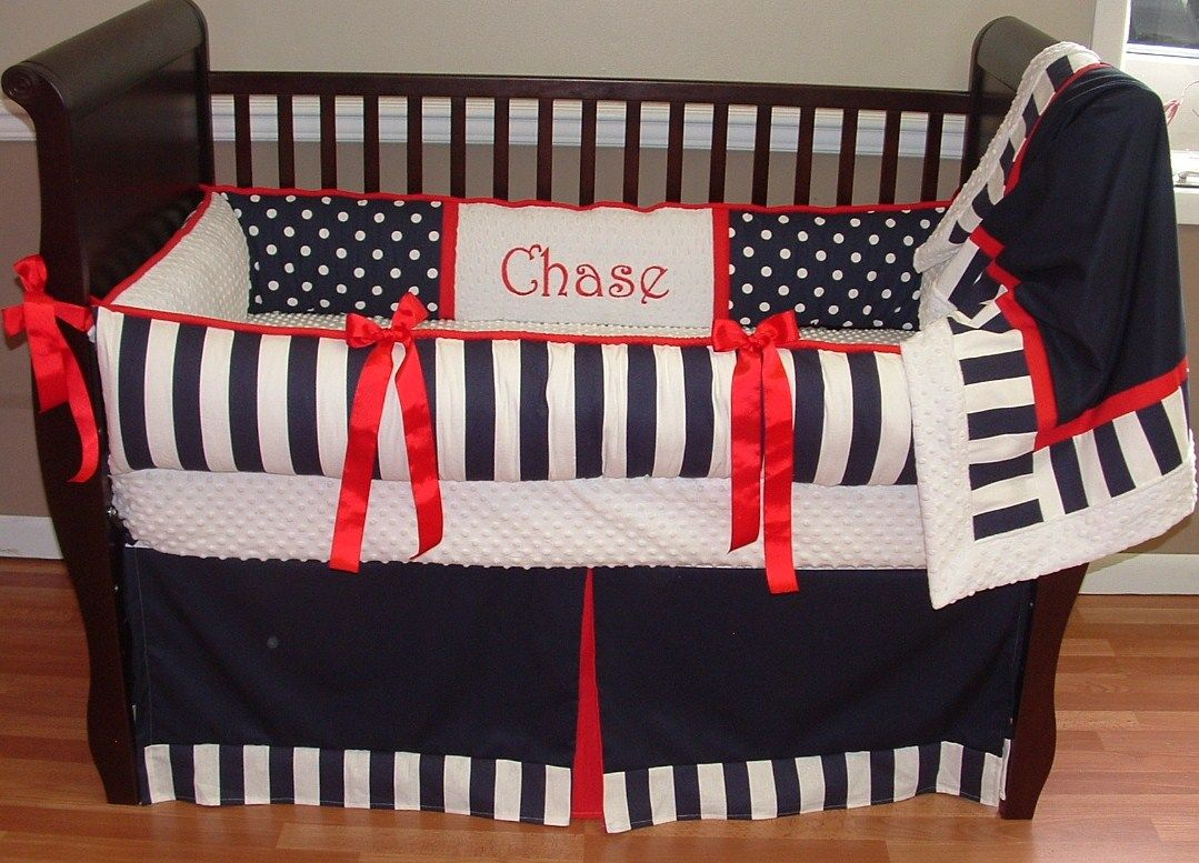 bedding crib set red anchors blue light skirt cribs boy baby nautical