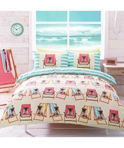 Pug Multicoloured Duvet Cover Set - Single. £20