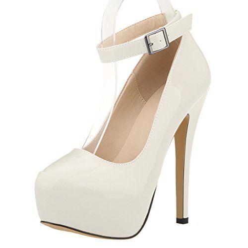 1898261edeb7 ZriEy Women s Patent Leather 14CM Fashion Sexy Ankle Strap Platform Pumps  Stiletto Bridal Party Shoes Beige
