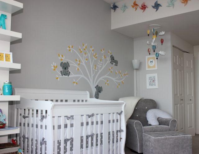 Graues Babyzimmer Dekoration : Babyzimmer gestalten neutral graue wandfarbe baum koala baerchen