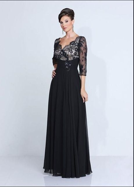 Black Lace Chiffon Plus Size Mother Of The Bride Dresses With V-Neck ...