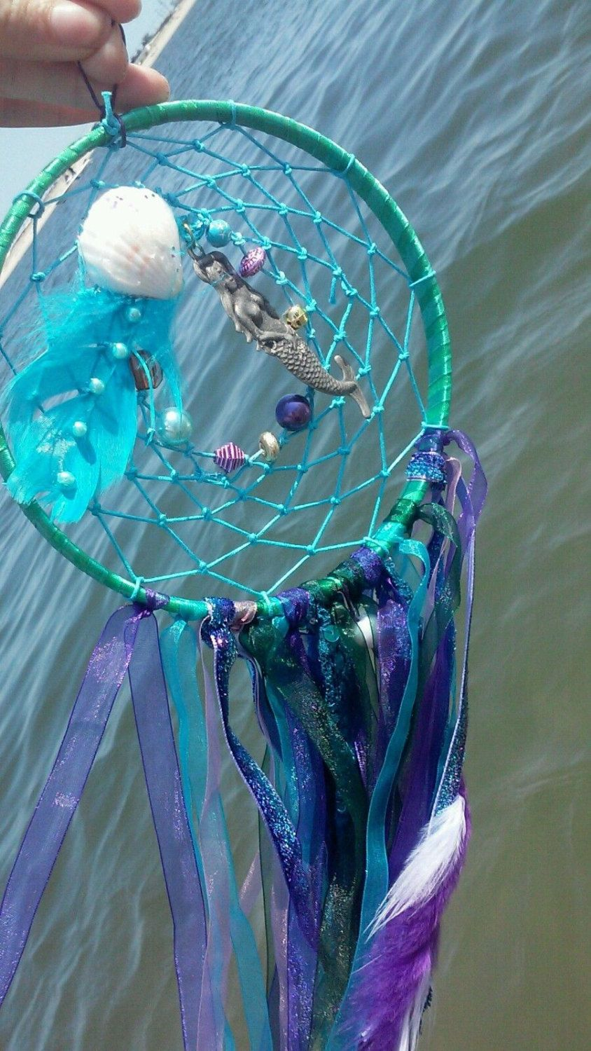 Paradise Mermaid decor, Large dream catcher, purple teal ...