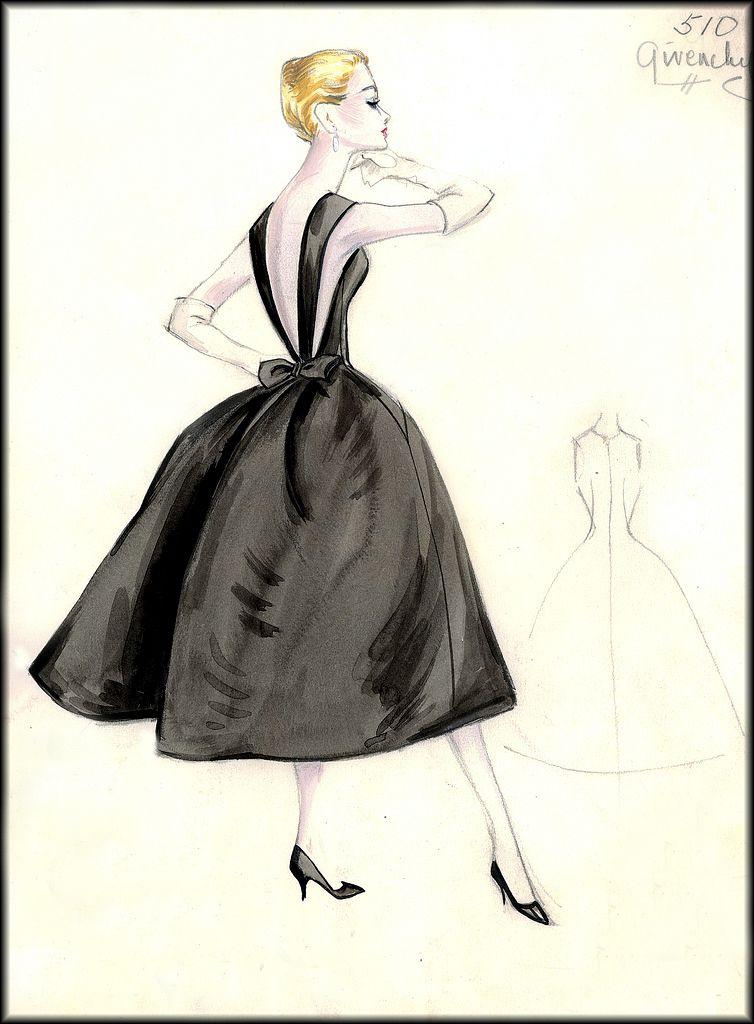 bf3ed9937c0e8 Vintage #Givenchy sketch 510 #Bergdorf Goodman   Fashion drawings ...