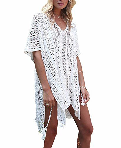 2f5ae205d4675 shermie Women's V-Neck Hollow Out Swimwear Swimsuit Cover UPS Plus Size  Short Loose Knitted Beach Dresses
