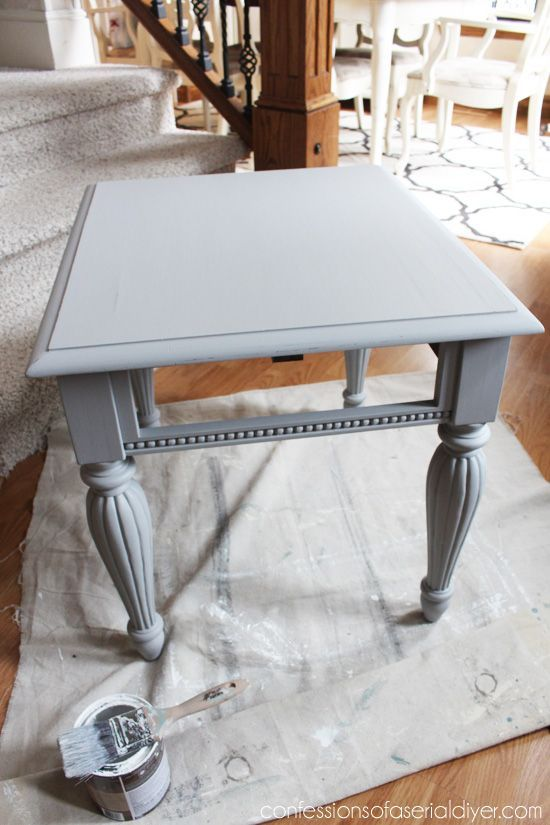 Shes crafty Grey and White painted kitchen table how to