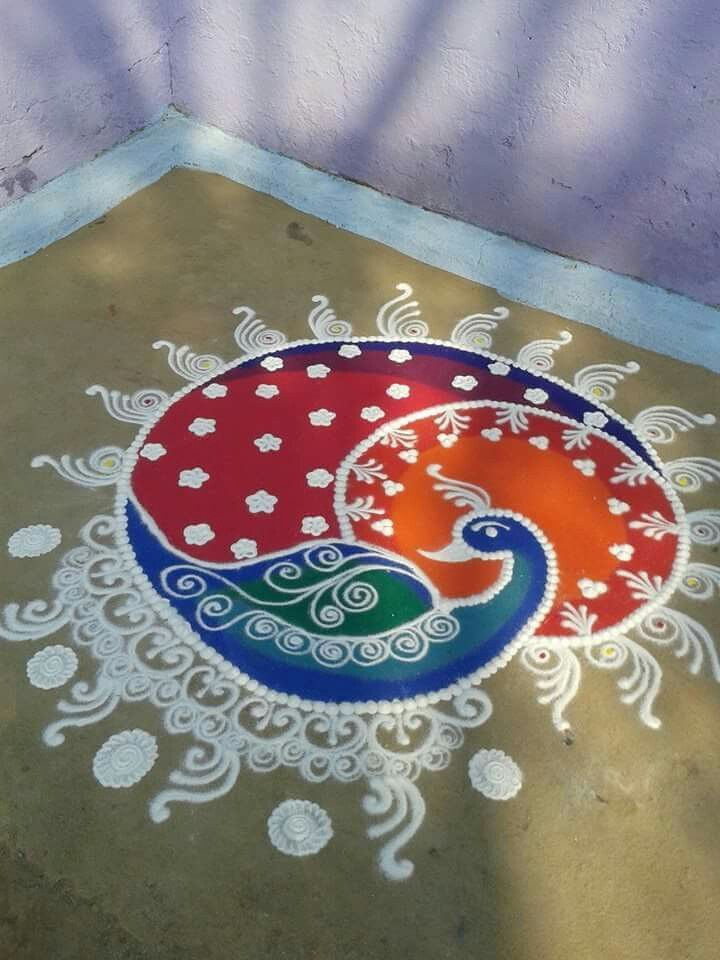 Peacock rangoli … | Pinteres…