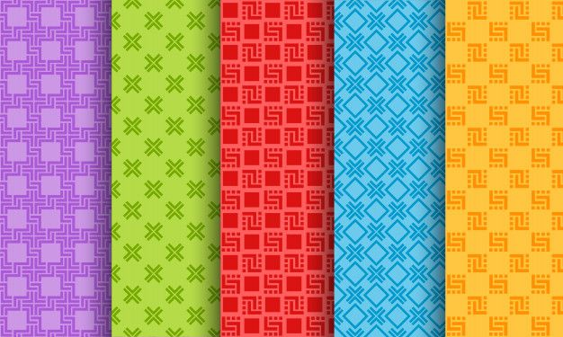 Set of bright different seamless pattern  Premium Vector