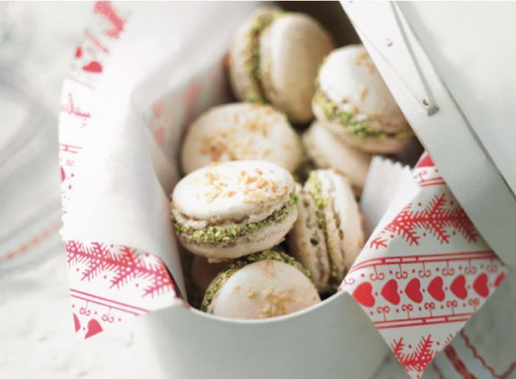 French Macarons with Raspberry Filling and Pistachios - Bonne Maman deserts -