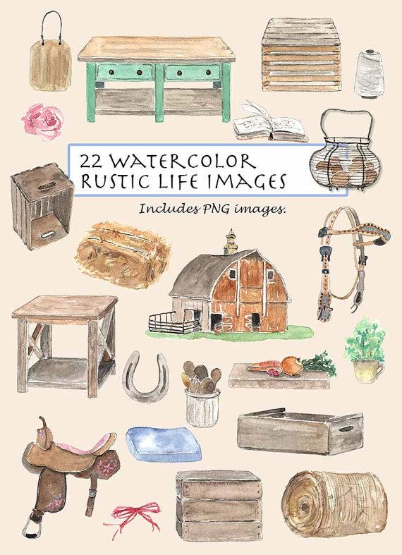 CLIP ART Watercolor Vintage Rustic Life Set 22 By Vianneart