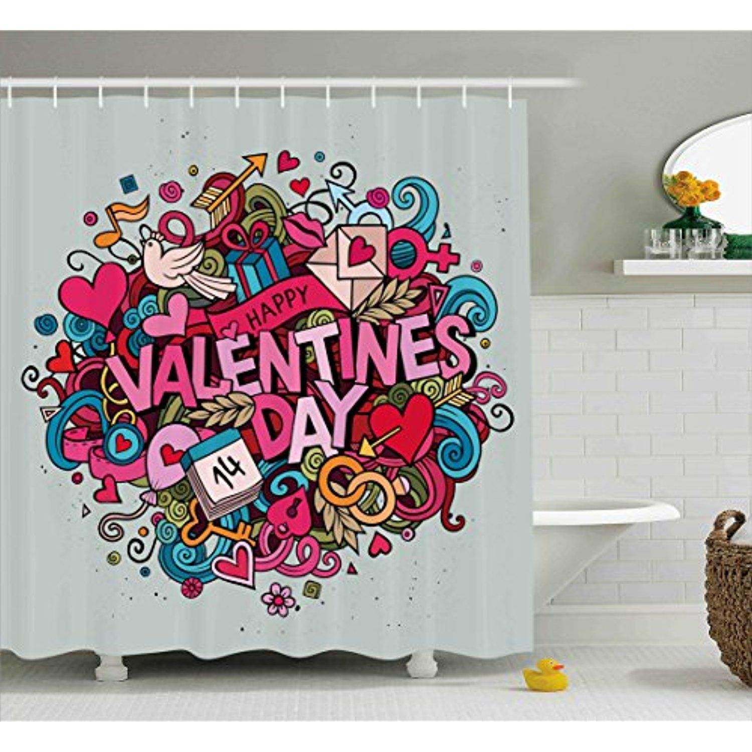 Valentines Day Shower Curtain By Lunarable Cartoon Like Surprise