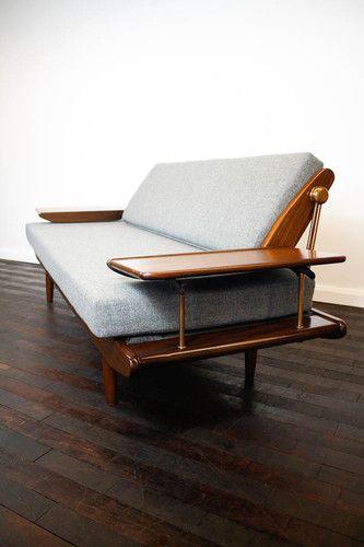 Retro 50s 60s Sofa Sofabed Vintage Mid Century Fabric Ebay