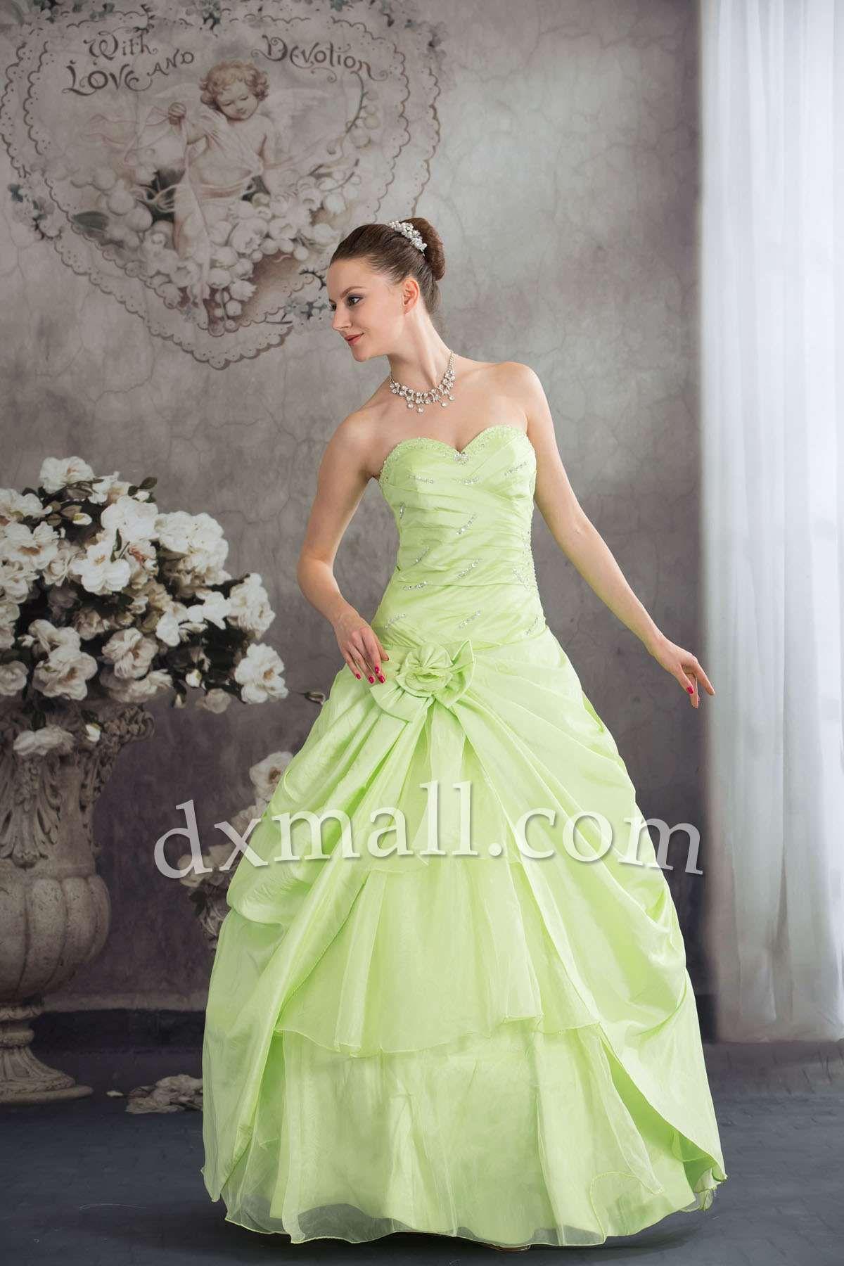 Drop Waist Color Dresses Sweetheart Floor Length Taffeta Organza ...