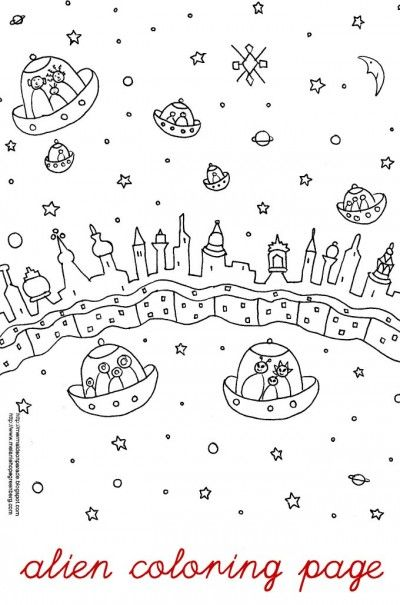 Space Alien Coloring Page | Space aliens, Aliens and Spaces