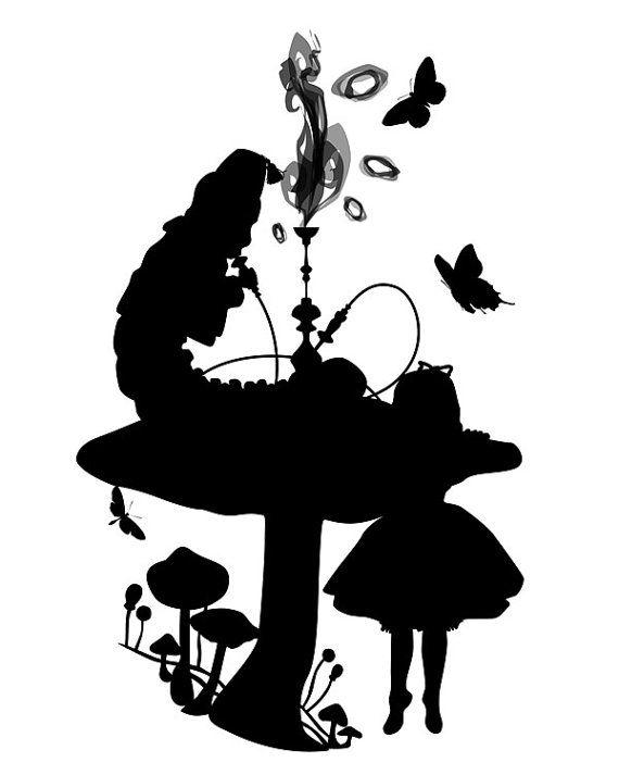 Who Are You Alice En De Rups 8 X 10 Originele Silhouette Etsy Alice In Wonderland Silhouette Wonderland Wonderland Tattoo