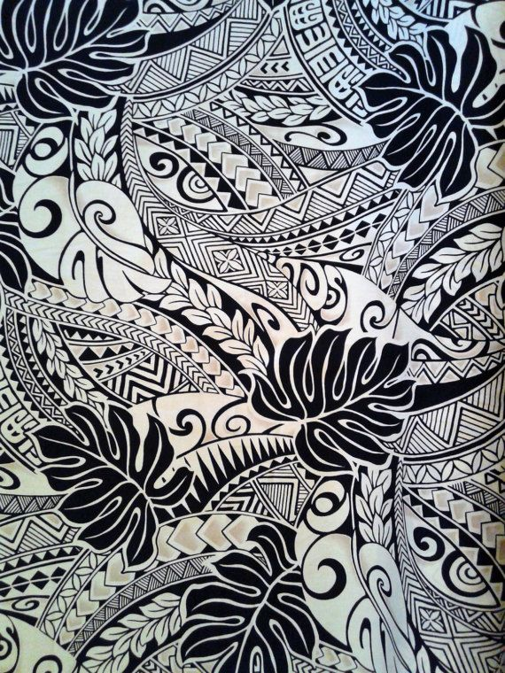 Black and Tan Polynesian Tattoo Fabric Hawaiian Fabric Aloha