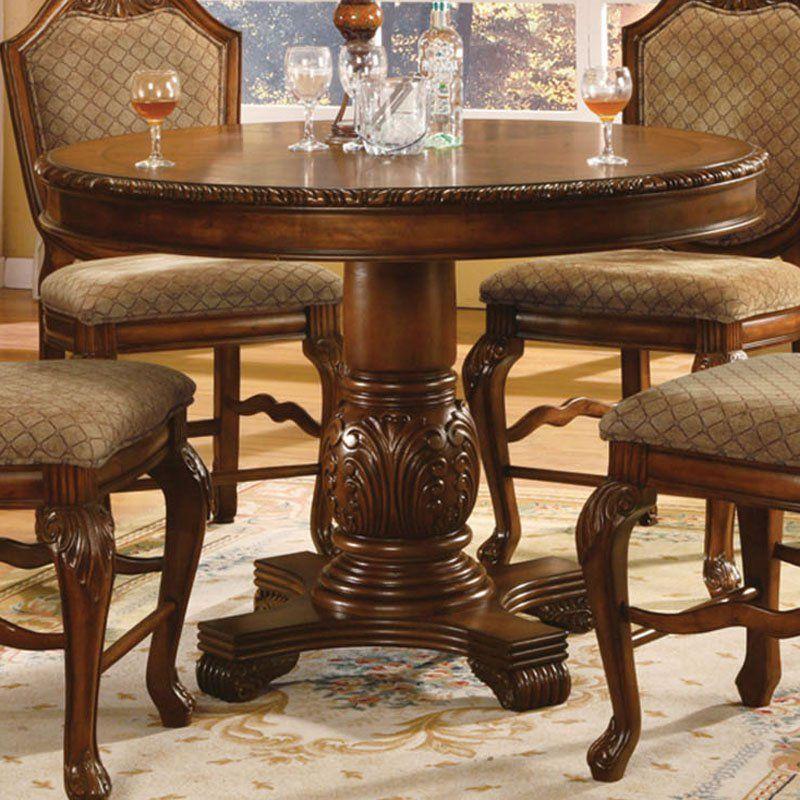Acme Furniture Chateau De Ville Round Counter Height Pedestal Dining Table Decoração De Madeira Moveis