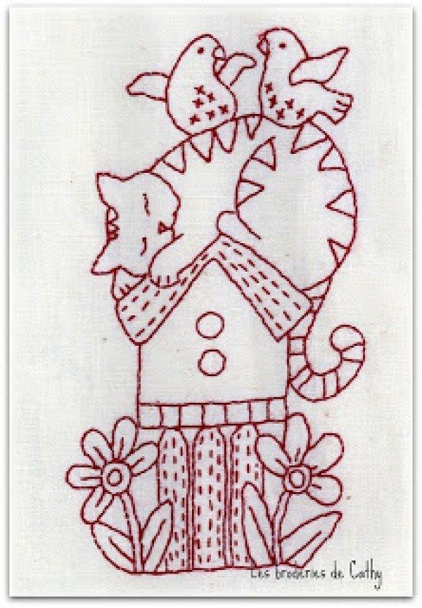 8 Simply Adorable Redwork Patterns   Gato, Bordado y Patrones de bordado