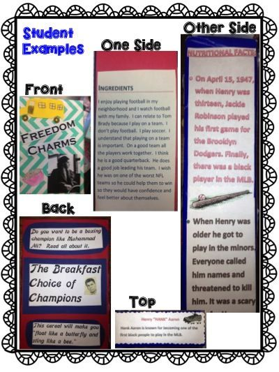 Student Examples Of A Cereal Box Biography Book Report  Love For