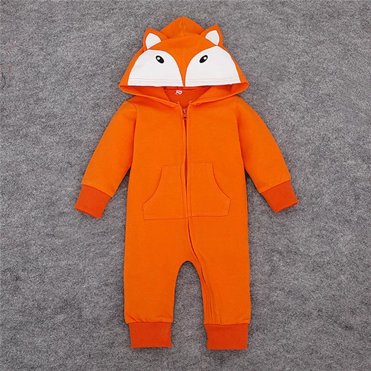 Newborn Baby Boys Girls Hooded Fox Tiger Romper Bodysuit Jumpsuit Outfit Costume