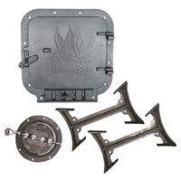 BK100E Barrel Stove Kit 2 Pieces 6 in Round Flue Collar 10 X 11 in Door Opening