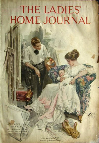 1914 Ladies Home Journal Cover Artist Paints Baby Harrison Fisher Vintage Magazine Covers Magazine Cover Vintage Magazine Old Magazines