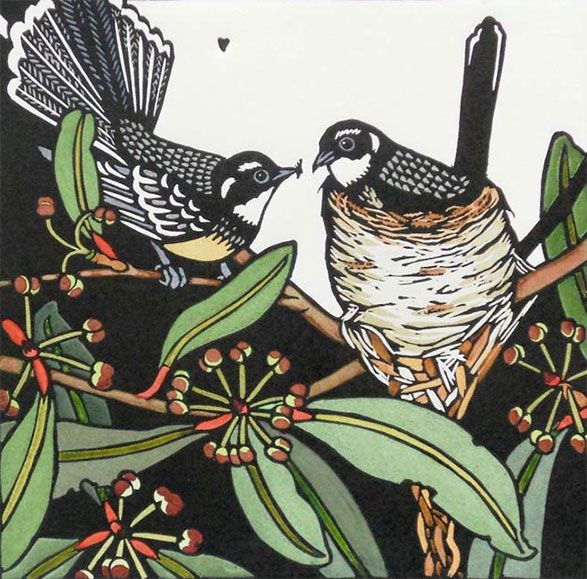 Grey Fantails by Kit Hiller Edition of 30 medium : Hand-coloured linocut dimensions : 54 x 55 cm