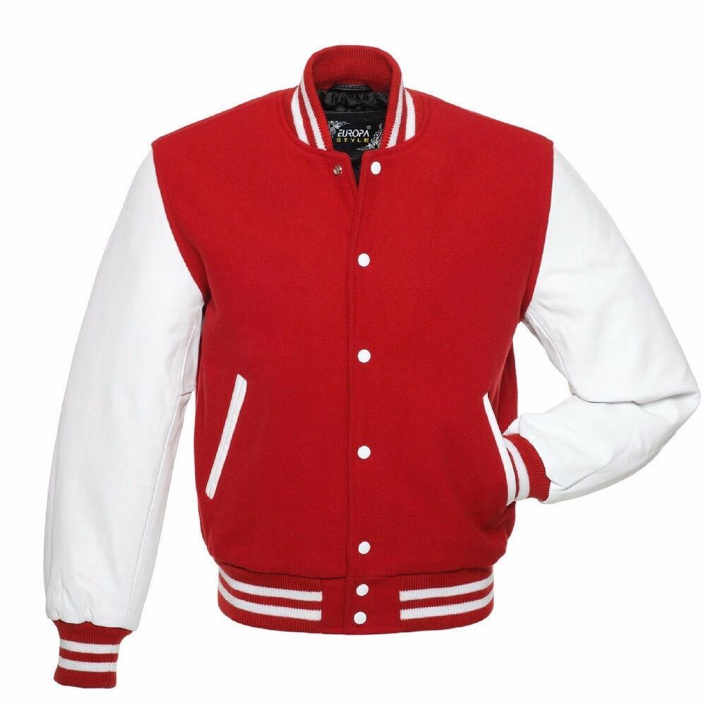 Red Wool Varsity Letterman College Bomber Jackets White Real Leather Sleeves Fashion Cl Leather Varsity Jackets Varsity Letterman Jackets Varsity Jacket Men