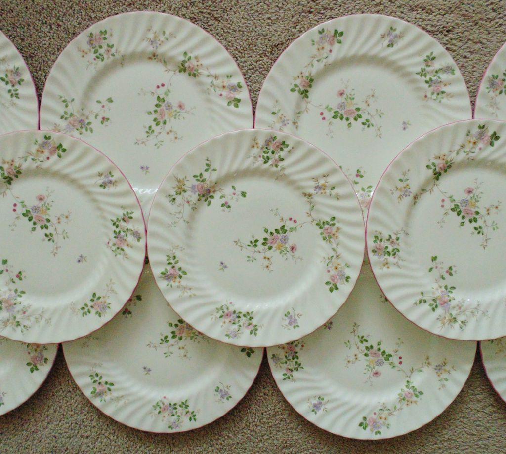 11 Vintage Fine Bone English Country Garden China Dinnerware Plates w/ Flowers Floral England & 11 Dinner Plates w/ Flowers Floral Fine Bone China England English ...