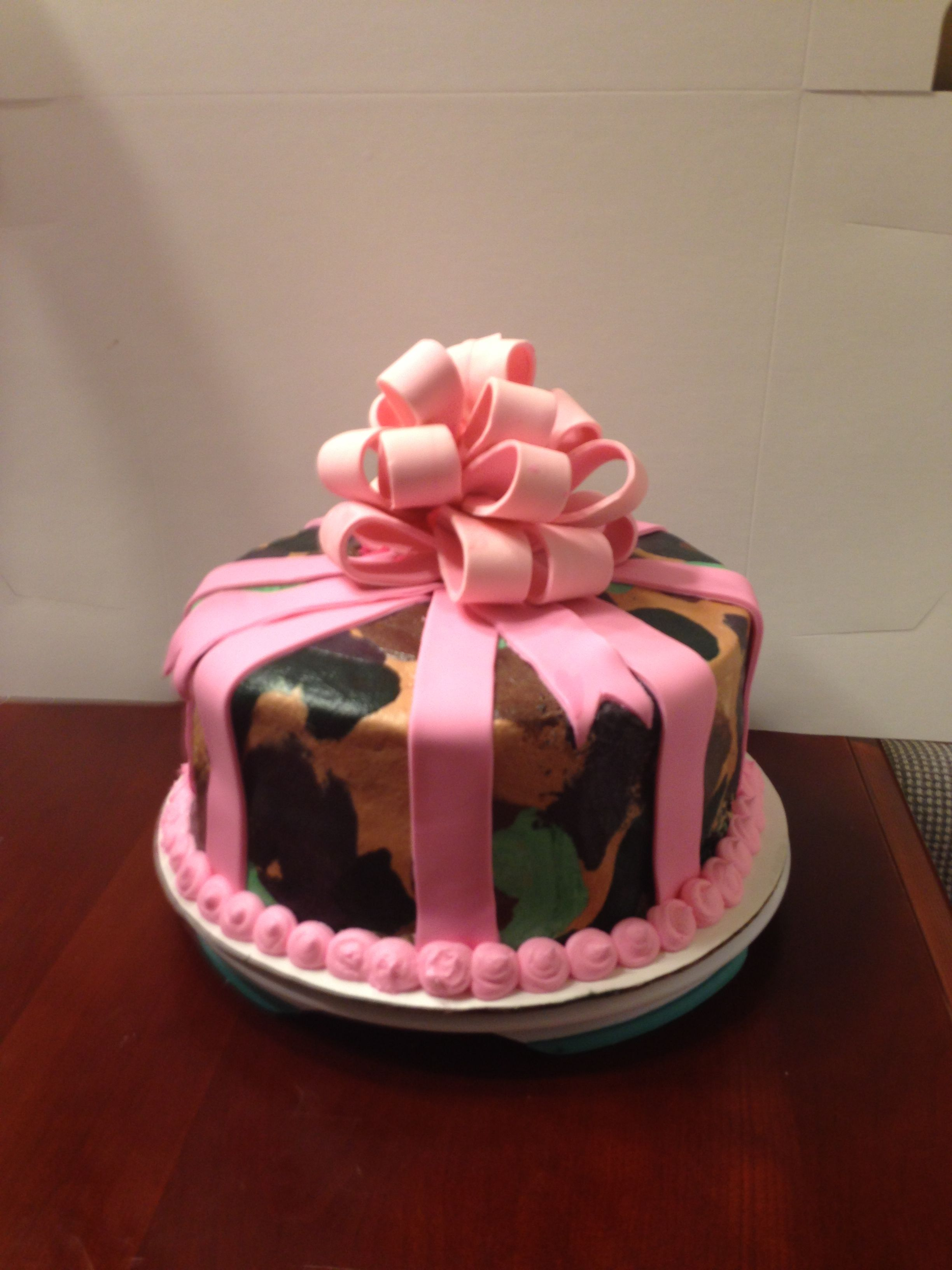 Enjoyable Camo With Pink Bow Cake Camouflage Hunting Cake Bow Cakes Cake Funny Birthday Cards Online Overcheapnameinfo