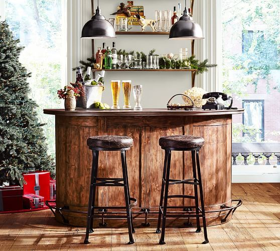 Lawrence Demilune Bar Cabinet   Pottery Barn