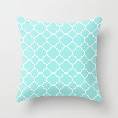 Decorative Pillows For Teens Velveteen Aqua Quatrefoil Pillow  Aqua Throw Pillow  Housewares