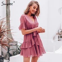 Simplee Sexy v-neck polka dot women dress Summer style layer ruffle chiffon short sundress Elegant zipper holiday vestidos 2019 #shortsundress