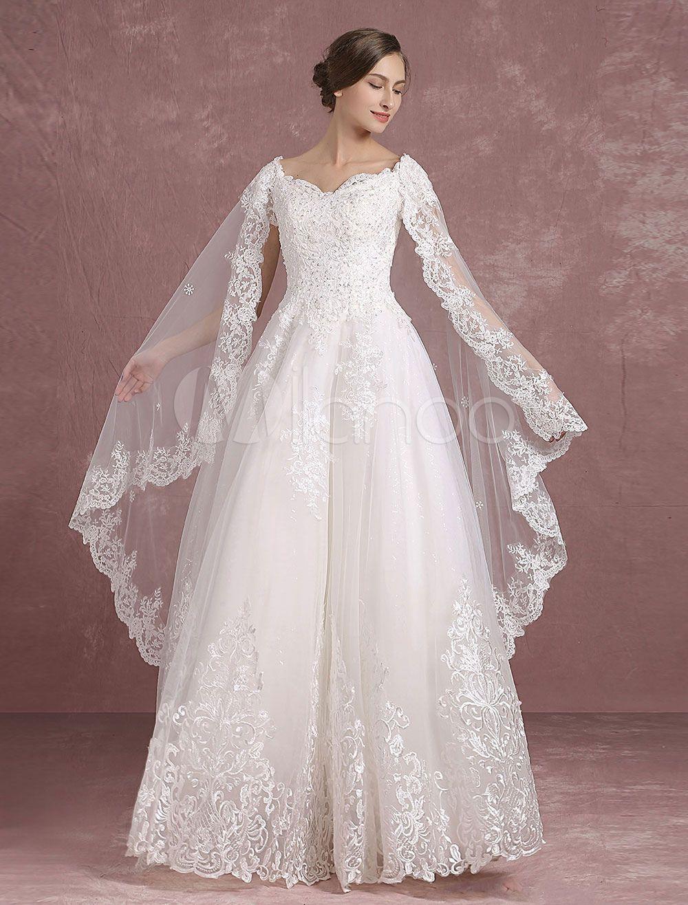 Vestidos de novia de verano 2021 Vestido de novia de encaje con cuello en V Apliques Abalorios Recorte trasero Una línea Vestido de novia maxi con tren Watteau  – Boda