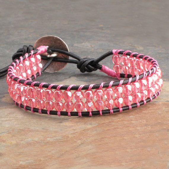 fae7250430e4 Czech Glass Leather Wrap Bracelet - Pink Cuff