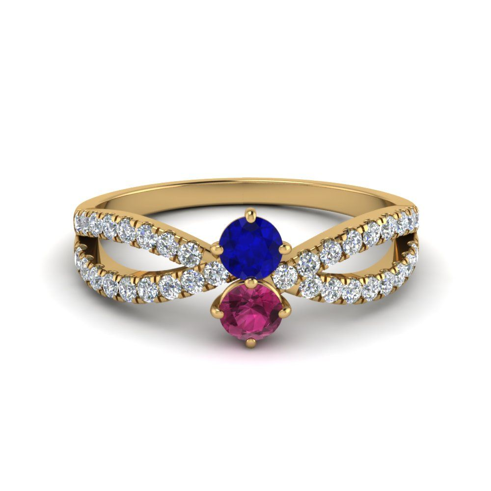 2 Stone Sapphire Reverse Split Rings with Blue Sapphire in 14K Yellow Gold exclusively styled by Fascinating Diamonds