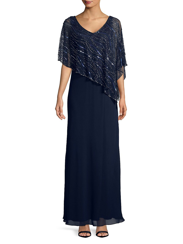 J Kara - Plus Embellished Long Dress - Walmart.com | Blue | Dresses ...