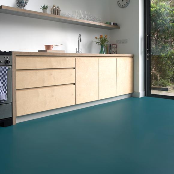 Blue Kitchen Flooring Ideas: A Teal Green-blue Vinyl Flooring