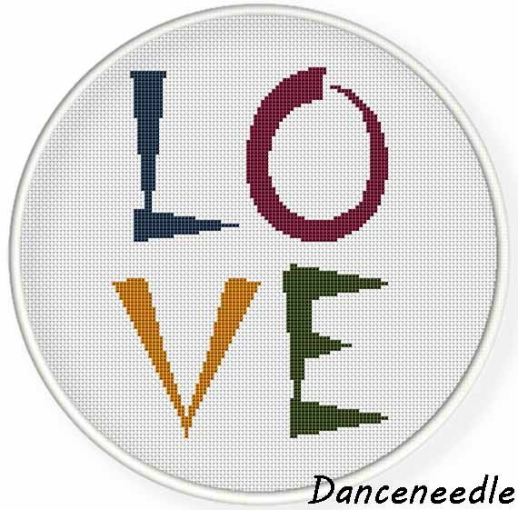 Instant download,Cross stitch pattern, PDF, quotes, love ,zxxc0936 by danceneedle on Etsy