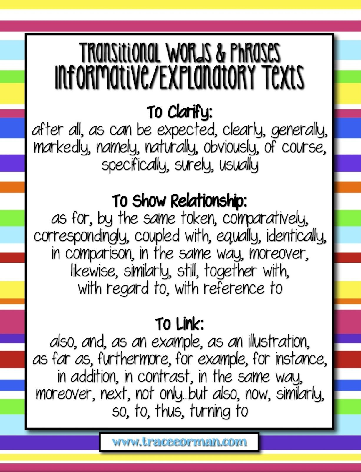 Common Core Tips Using Transitional Words In Writing