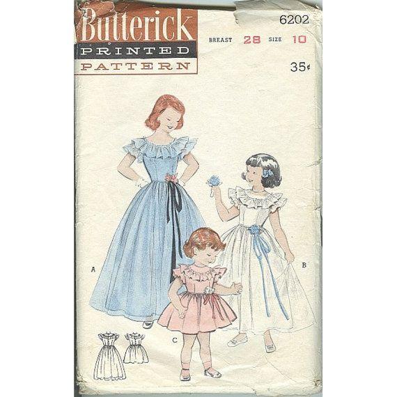 Butterick 6202 Girls 1950s Era Party Dress by mystiquevintage