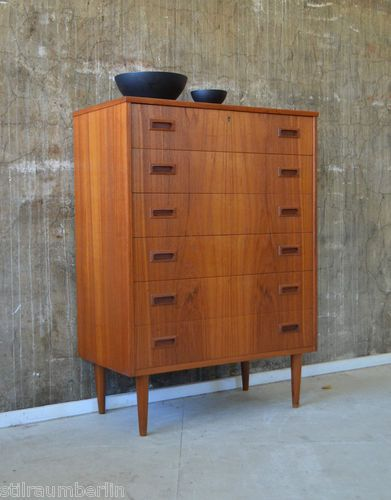 details zu 60er teak danish credenza cabinet 60s sideboard kommode midcentury highboard design. Black Bedroom Furniture Sets. Home Design Ideas