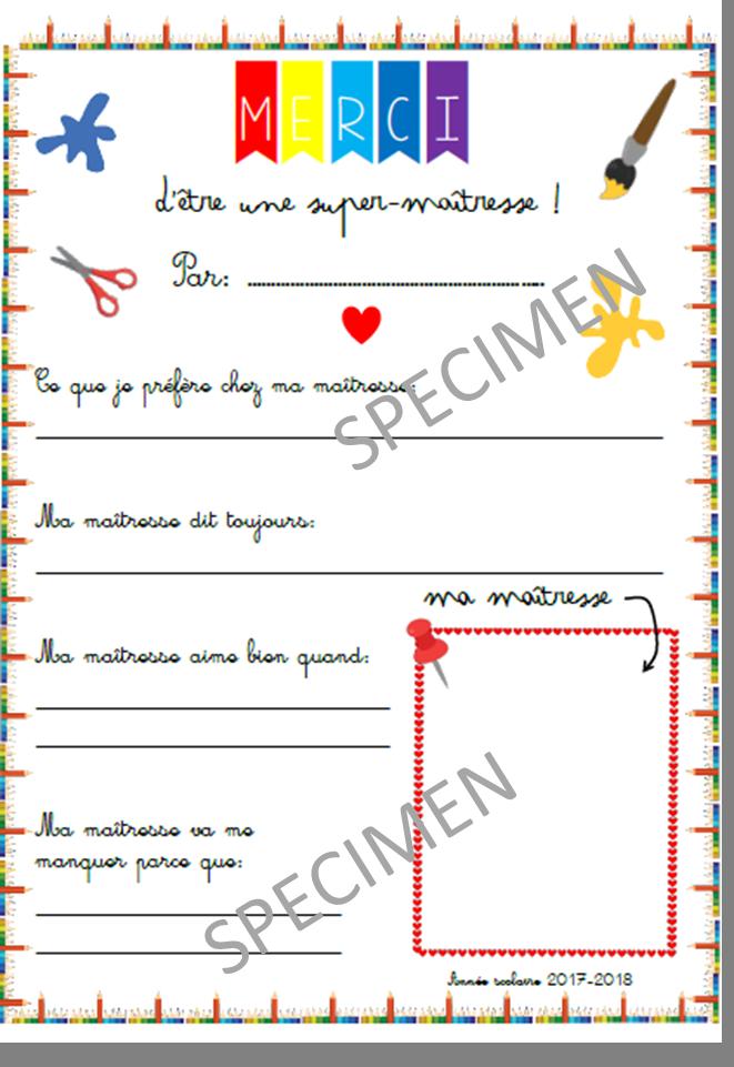 Carte Merci Maitresse Et Super Maitre Format A4 A Faire Remplir