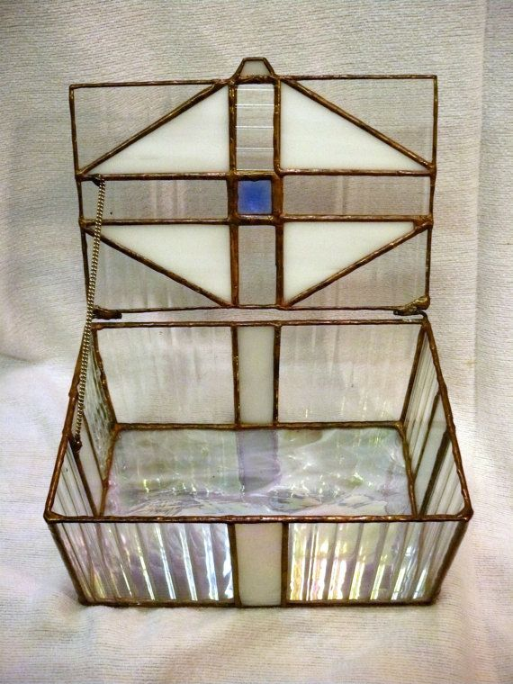 345d362010dd BOX Stained Glass Clear   Iridescent Glass by TurtleandDragon ...