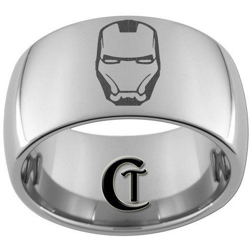 Iron Man Rings 12mm Dome Tungsten Carbide Laser Iron Man Design Ring Sizes 5 15 Iron Man Wedding Mens Wedding Bands Wedding Bands For Him