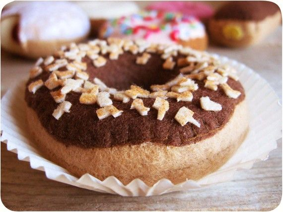 Chocolate Glazed Donut with Nuts by milkfly on Etsy, $20.00